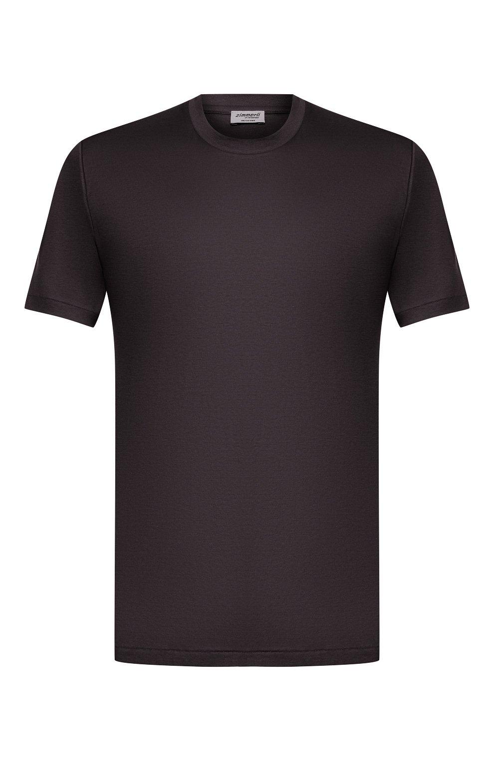 Мужская хлопковая футболка ZIMMERLI темно-серого цвета, арт. 286-1447 | Фото 1 (Кросс-КТ: домашняя одежда; Рукава: Короткие; Длина (для топов): Стандартные; Материал внешний: Хлопок; Мужское Кросс-КТ: Футболка-белье)