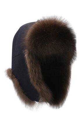 Мужская шапка-ушанка из меха фишера KUSSENKOVV синего цвета, арт. 339106903159   Фото 1