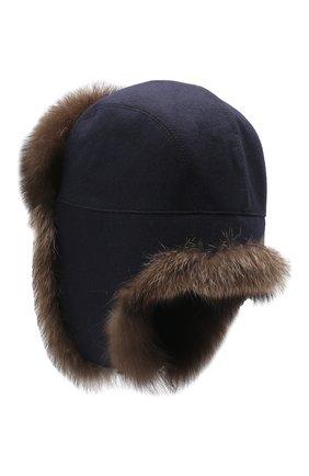 Мужская шапка-ушанка из меха фишера KUSSENKOVV синего цвета, арт. 339106903159   Фото 2
