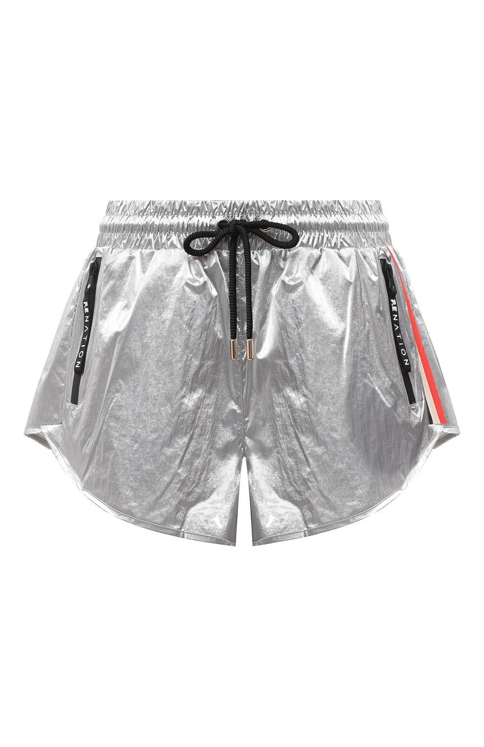Женские шорты P.E. NATION серебряного цвета, арт. 20PE2S028   Фото 1 (Длина Ж (юбки, платья, шорты): Мини; Кросс-КТ: Спорт; Материал внешний: Синтетический материал; Материал подклада: Вискоза)