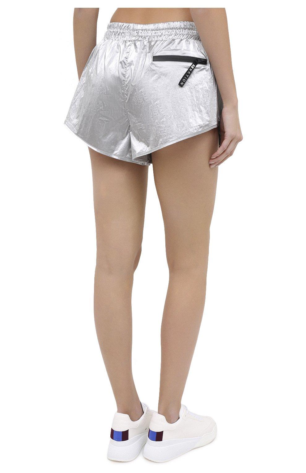 Женские шорты P.E. NATION серебряного цвета, арт. 20PE2S028   Фото 4 (Длина Ж (юбки, платья, шорты): Мини; Кросс-КТ: Спорт; Материал внешний: Синтетический материал; Материал подклада: Вискоза)