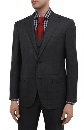 Мужской шерстяной костюм-тройка CORNELIANI темно-серого цвета, арт. 868268-0817235/92 Q1   Фото 2