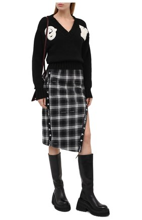 Женская шерстяной свитер OFF-WHITE черного цвета, арт. 0WHD014E20KNI0011001 | Фото 2