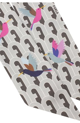 Мужские шелковы шарф-бандо FURLA серого цвета, арт. WT00001/A.0166 | Фото 2