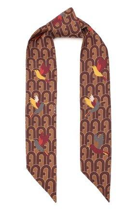Мужские шелковы шарф-бандо FURLA коричневого цвета, арт. WT00001/A.0166 | Фото 1