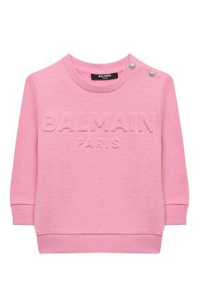 Детский хлопковый свитшот BALMAIN светло-розового цвета, арт. 6N4840/NX300/12-36M | Фото 1