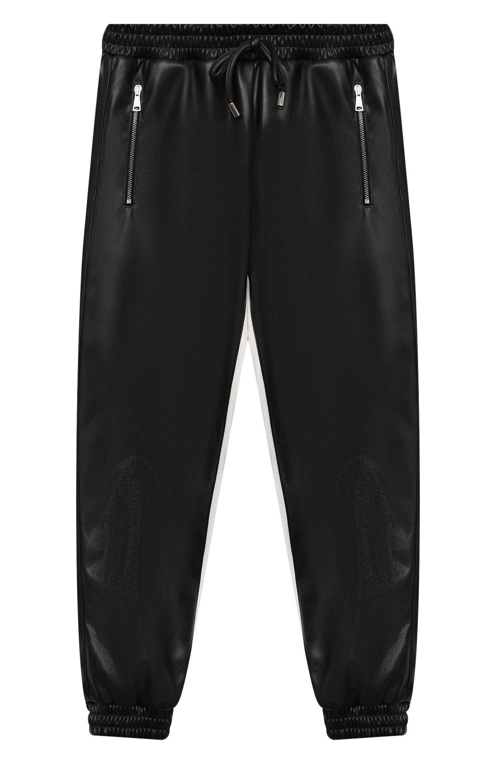 Детские брюки из эко-кожи ERMANNO SCERVINO черного цвета, арт. 479 PL02 EC0/4-8   Фото 1