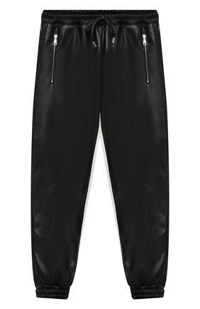 Детские брюки из эко-кожи ERMANNO SCERVINO черного цвета, арт. 479 PL02 EC0/4-8 | Фото 1