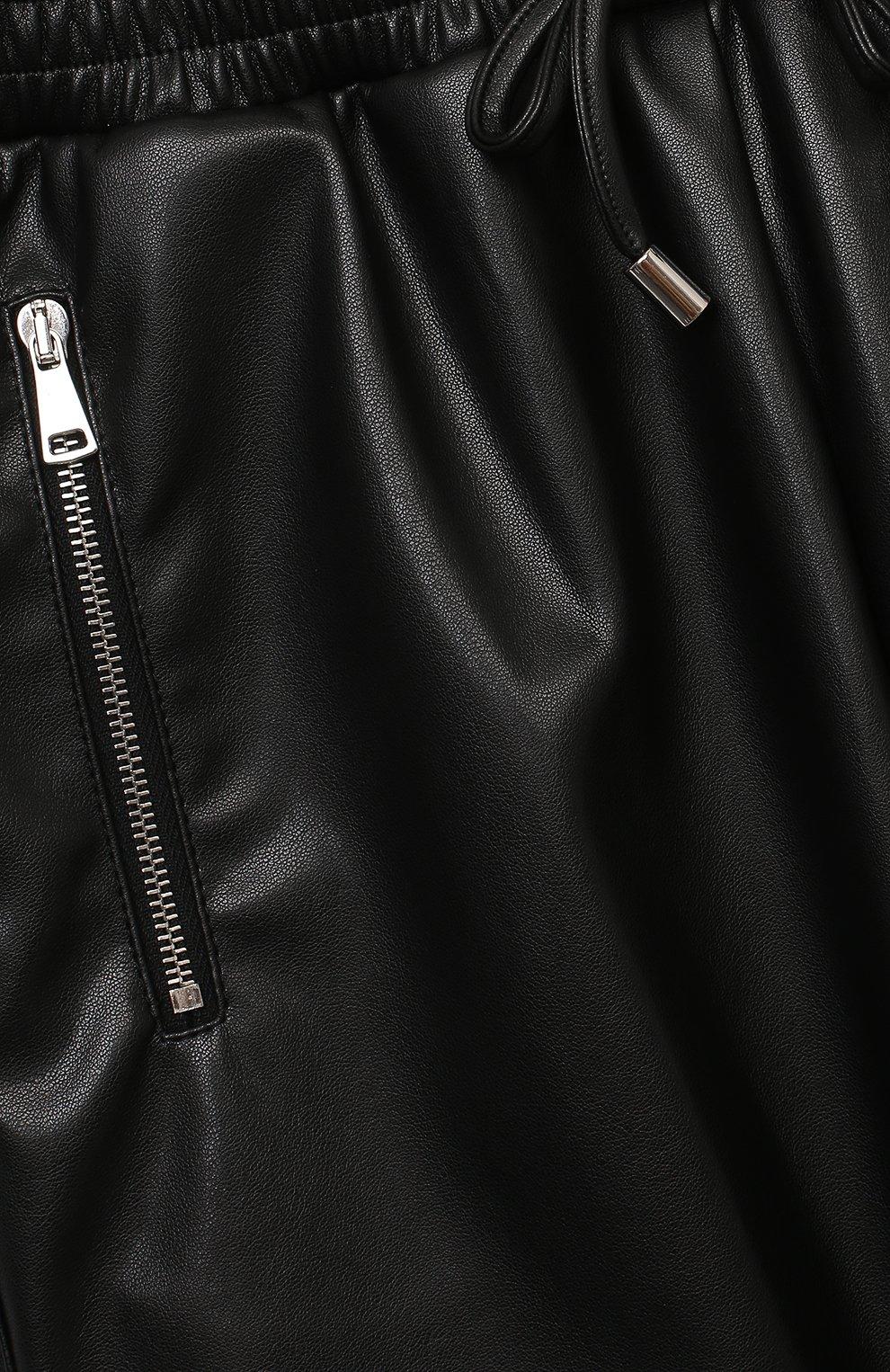 Детские брюки из эко-кожи ERMANNO SCERVINO черного цвета, арт. 479 PL02 EC0/4-8   Фото 3