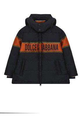 Детский пуховая куртка DOLCE & GABBANA темно-синего цвета, арт. L4JB1P/G7WWL/2-6 | Фото 1