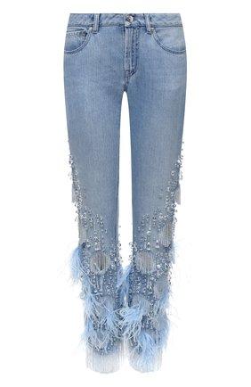 Женские джинсы с отделкой BURBERRY синего цвета, арт. 8032292 | Фото 1