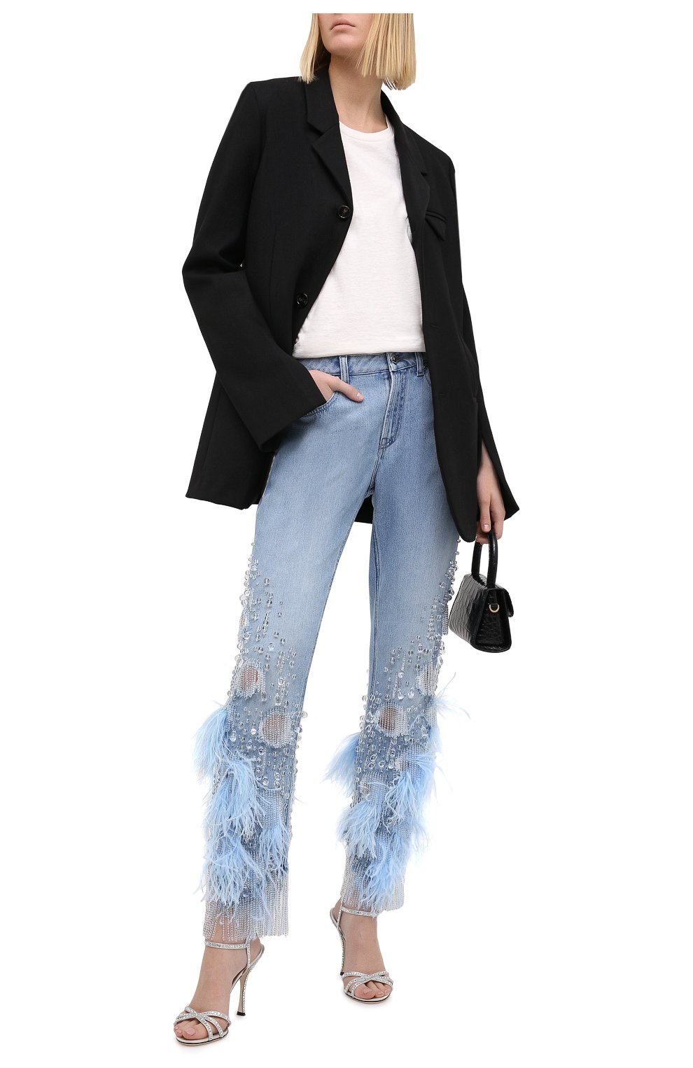 Женские джинсы с отделкой BURBERRY синего цвета, арт. 8032292 | Фото 2