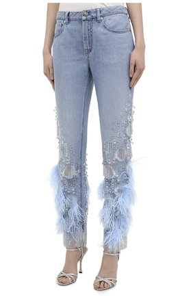 Женские джинсы с отделкой BURBERRY синего цвета, арт. 8032292 | Фото 3