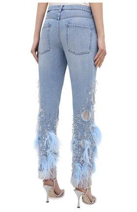 Женские джинсы с отделкой BURBERRY синего цвета, арт. 8032292 | Фото 4