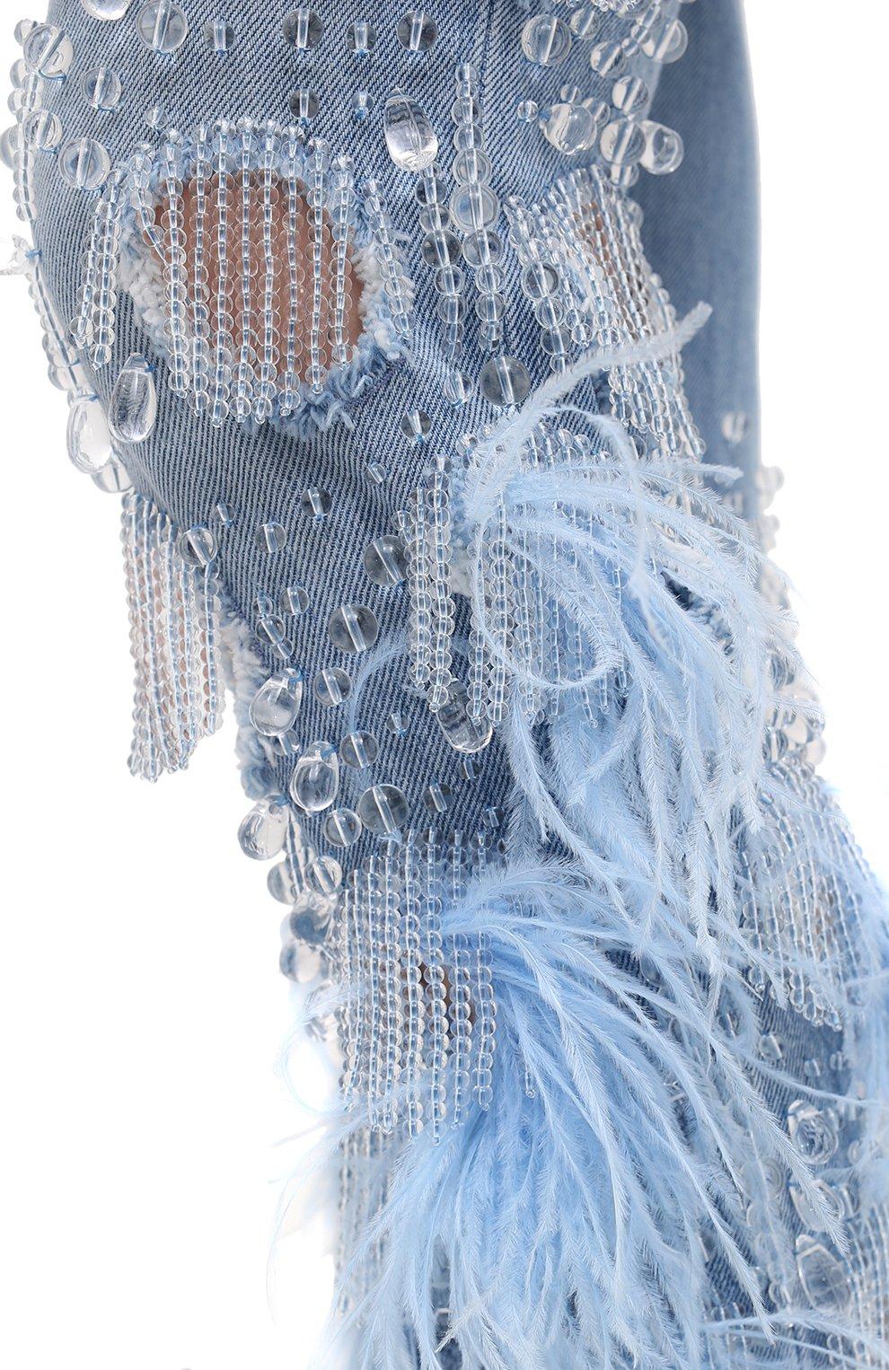 Женские джинсы с отделкой BURBERRY синего цвета, арт. 8032292 | Фото 5