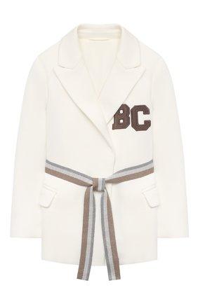 Детский хлопковый пиджак BRUNELLO CUCINELLI белого цвета, арт. BF570K005A | Фото 1 (Материал подклада: Синтетический материал; Материал внешний: Хлопок; Рукава: Длинные; Кросс-КТ: пиджак; Ростовка одежда: 4 года | 104 см, 6 лет | 116 см)