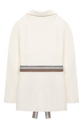 Детский хлопковый пиджак BRUNELLO CUCINELLI белого цвета, арт. BF570K005A | Фото 2 (Материал подклада: Синтетический материал; Материал внешний: Хлопок; Рукава: Длинные; Кросс-КТ: пиджак; Ростовка одежда: 4 года | 104 см, 6 лет | 116 см)