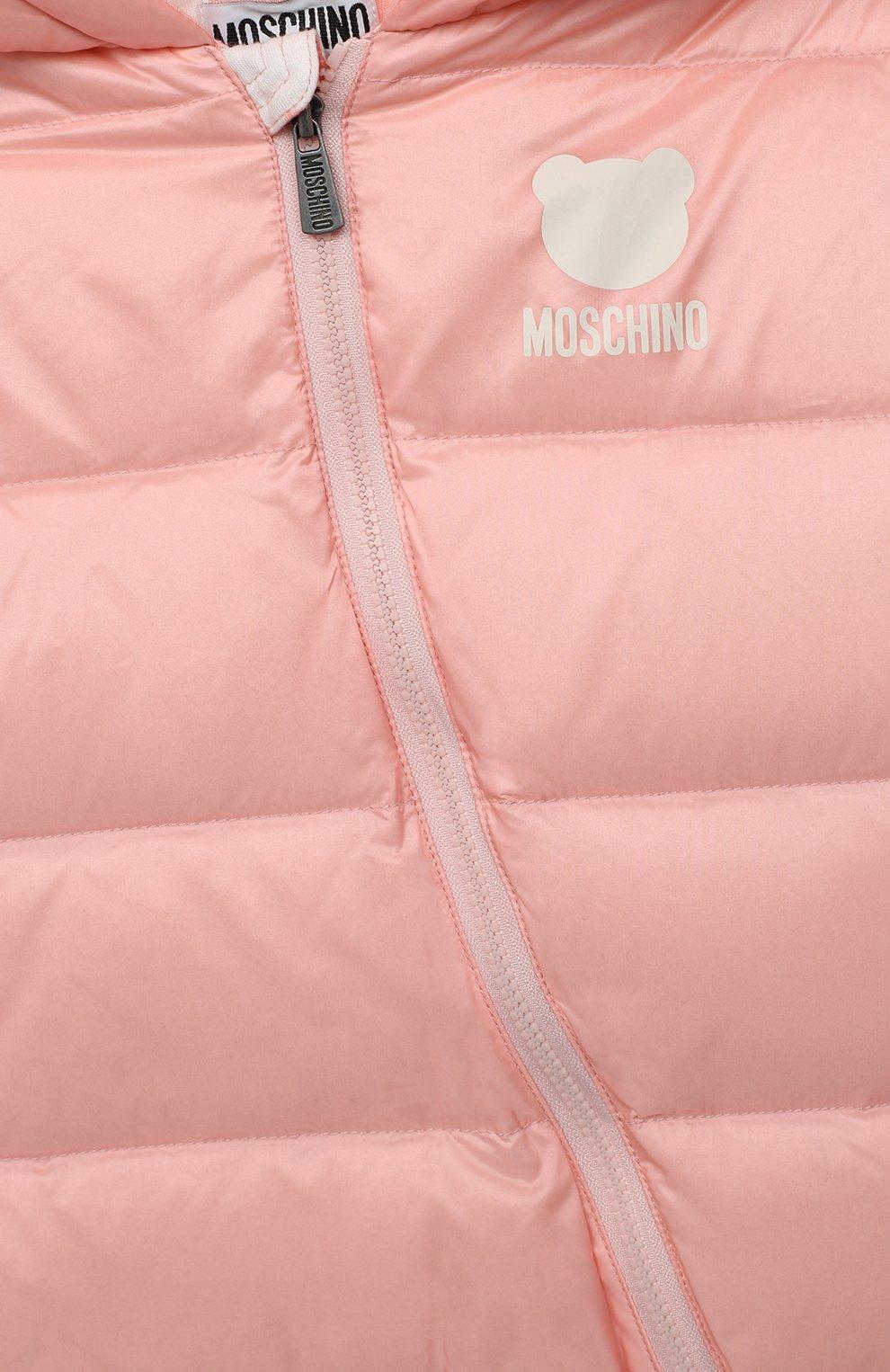 Детского пуховый комбинезон MOSCHINO розового цвета, арт. MUS01Q/L3A22 | Фото 3 (Рукава: Длинные; Материал внешний: Синтетический материал; Материал утеплителя: Пух и перо; Материал подклада: Хлопок; Ростовка одежда: 12 мес | 80 см, 18 мес | 86 см, 24 мес | 92 см)