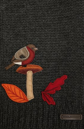 Детский шерстяной шарф DOLCE & GABBANA темно-серого цвета, арт. LBKA70/JAM01 | Фото 2 (Материал: Шерсть)