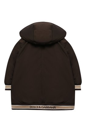 Детского пуховая куртка DOLCE & GABBANA коричневого цвета, арт. L5JBC1/FUMZI/2-6 | Фото 2