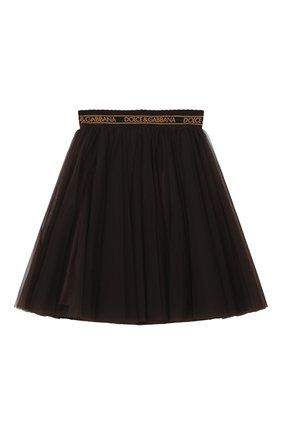 Детская многослойная юбка DOLCE & GABBANA темно-коричневого цвета, арт. L53I74/HLMSY/8-14 | Фото 2