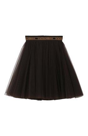 Детская многослойная юбка DOLCE & GABBANA темно-коричневого цвета, арт. L53I74/HLMSY/2-6 | Фото 1