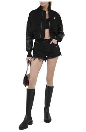 Женский шерстяной бомбер OFF-WHITE черного цвета, арт. 0WEH014E20FAB0011055 | Фото 2