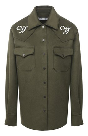Женская шерстяная куртка-рубашка OFF-WHITE хаки цвета, арт. 0WEA225E20FAB0015601 | Фото 1