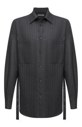 Мужская шерстяная рубашка VALENTINO серого цвета, арт. UV0ABF206QJ | Фото 1 (Длина (для топов): Стандартные; Рукава: Длинные; Материал внешний: Шерсть; Случай: Повседневный; Мужское Кросс-КТ: Рубашка-одежда; Стили: Кэжуэл; Принт: Полоска; Рубашки М: Classic Fit; Манжеты: На пуговицах; Воротник: Кент)