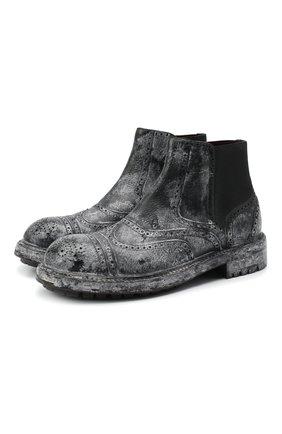 Мужские кожаные челси DOLCE & GABBANA черно-белого цвета, арт. A60327/AX535 | Фото 1