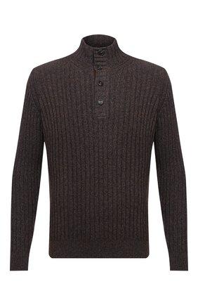 Мужской шерстяной свитер CORTIGIANI коричневого цвета, арт. 919123/0000 | Фото 1 (Длина (для топов): Стандартные; Рукава: Длинные; Материал внешний: Шерсть; Стили: Кэжуэл; Принт: Без принта)