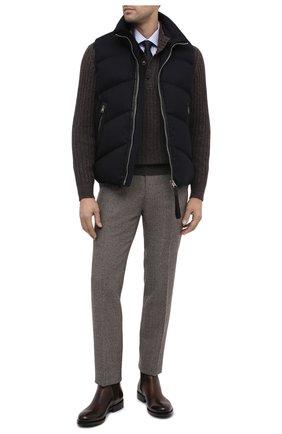 Мужской шерстяной свитер CORTIGIANI коричневого цвета, арт. 919123/0000 | Фото 2 (Длина (для топов): Стандартные; Рукава: Длинные; Материал внешний: Шерсть; Стили: Кэжуэл; Принт: Без принта)