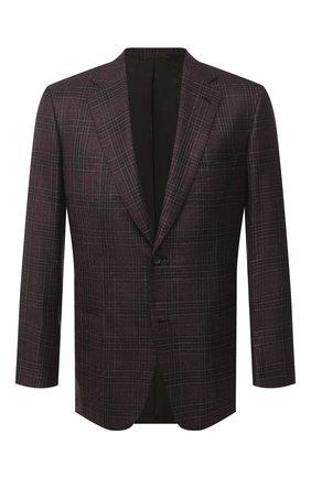 Мужской пиджак из шелка и кашемира BRIONI коричневого цвета, арт. RGH00U/09411/PARLAMENT0 | Фото 1