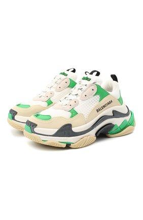 Женские комбинированные кроссовки triple s BALENCIAGA зеленого цвета, арт. 524039/W090M | Фото 1