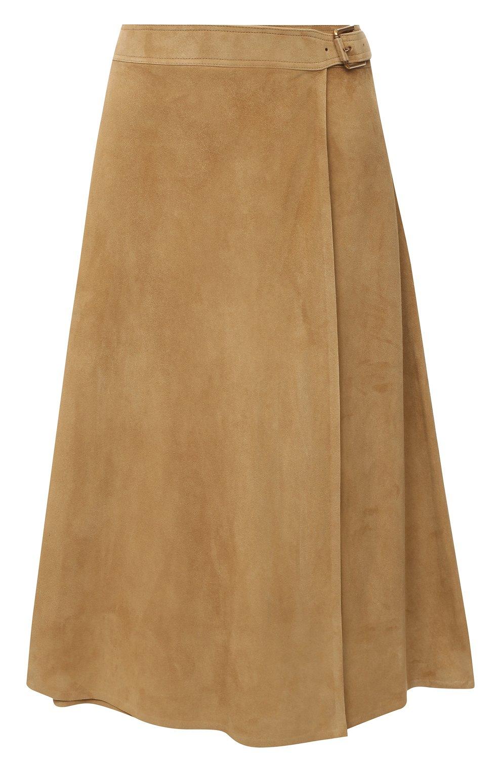 Женская замшевая юбка RALPH LAUREN бежевого цвета, арт. 290790828   Фото 1