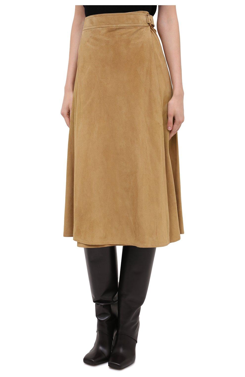 Женская замшевая юбка RALPH LAUREN бежевого цвета, арт. 290790828   Фото 3
