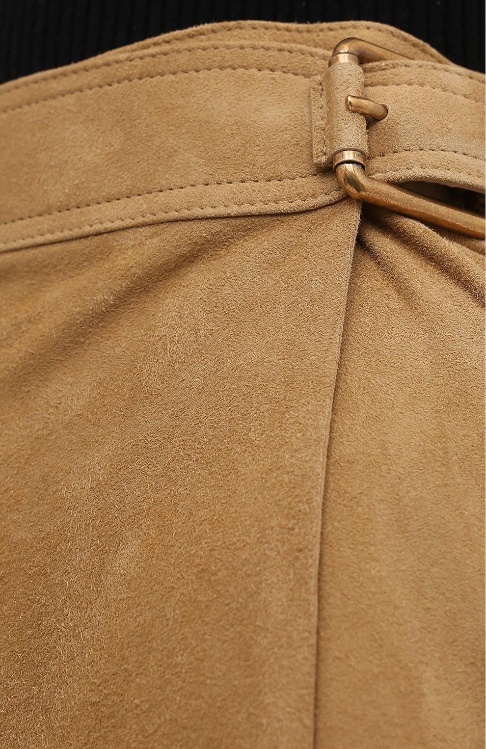 Женская замшевая юбка RALPH LAUREN бежевого цвета, арт. 290790828   Фото 5