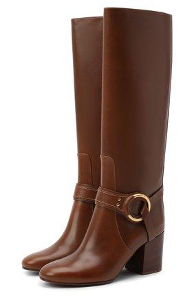 Женские кожаные сапоги demi CHLOÉ коричневого цвета, арт. CHC20A361L4 | Фото 1