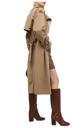 Женские кожаные сапоги demi CHLOÉ коричневого цвета, арт. CHC20A361L4 | Фото 2