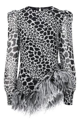 Женская шелковый топ ALESSANDRA RICH черно-белого цвета, арт. FAB2283-F2975 | Фото 1