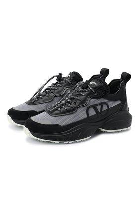 Женские комбинированные кроссовки valentino garavani shegoes VALENTINO черного цвета, арт. UW2S0AB1/MUC   Фото 1
