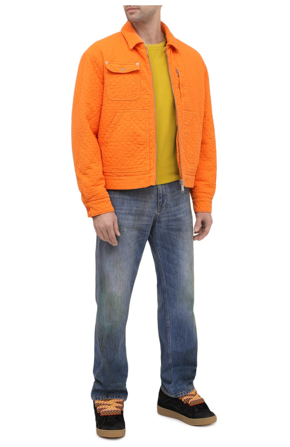 Мужские комбинированные кеды LANVIN черного цвета, арт. FM-SKRK11-DRAG-A20 | Фото 2 (Материал внешний: Текстиль; Материал внутренний: Натуральная кожа, Текстиль; Подошва: Массивная)