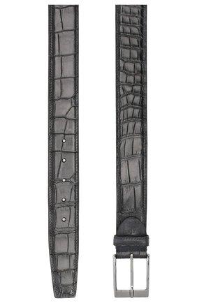 Мужской ремень из кожи аллигатора BARRETT серого цвета, арт. 81B537.66/C0CC0DRILL0 CREAM/AMIS | Фото 2