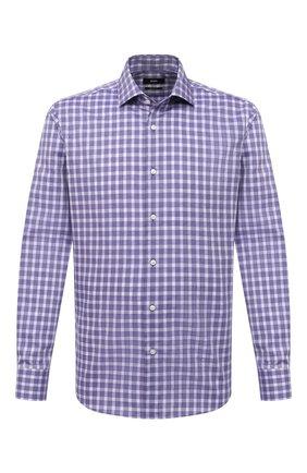 Мужская хлопковая сорочка BOSS сиреневого цвета, арт. 50439715 | Фото 1