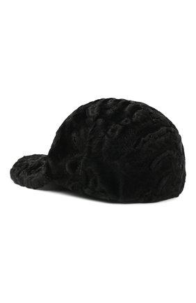 Мужской бейсболка из меха каракуля KUSSENKOVV черного цвета, арт. 387100002003 | Фото 2