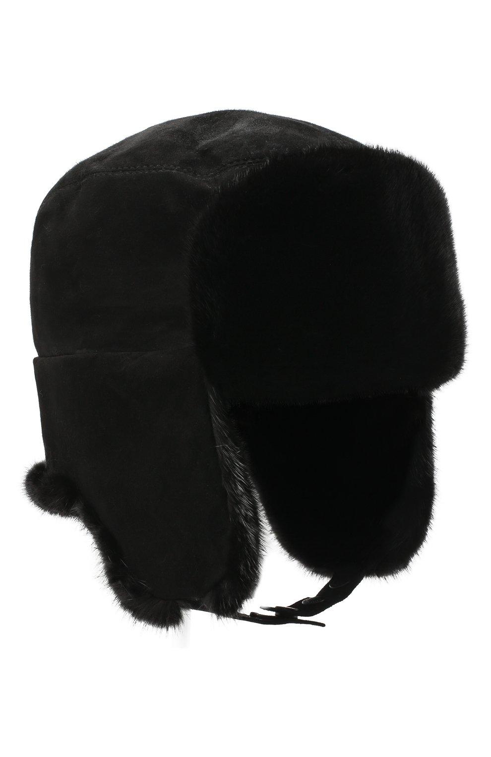 Мужская шапка-ушанка из меха норки KUSSENKOVV черного цвета, арт. 338502802115 | Фото 1