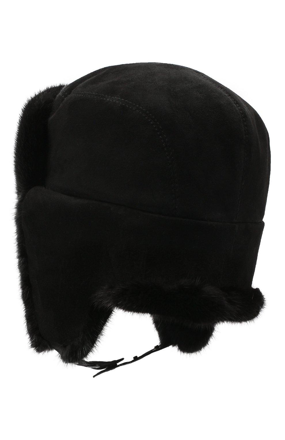 Мужская шапка-ушанка из меха норки KUSSENKOVV черного цвета, арт. 338502802115 | Фото 2