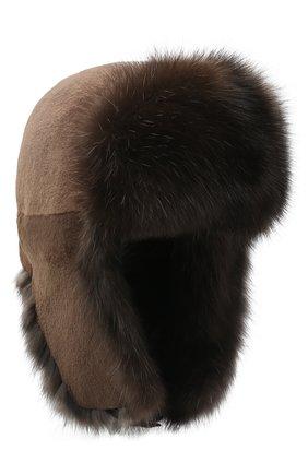 Мужская шапка-ушанка из меха норки и соболя KUSSENKOVV темно-коричневого цвета, арт. 320513504243 | Фото 1