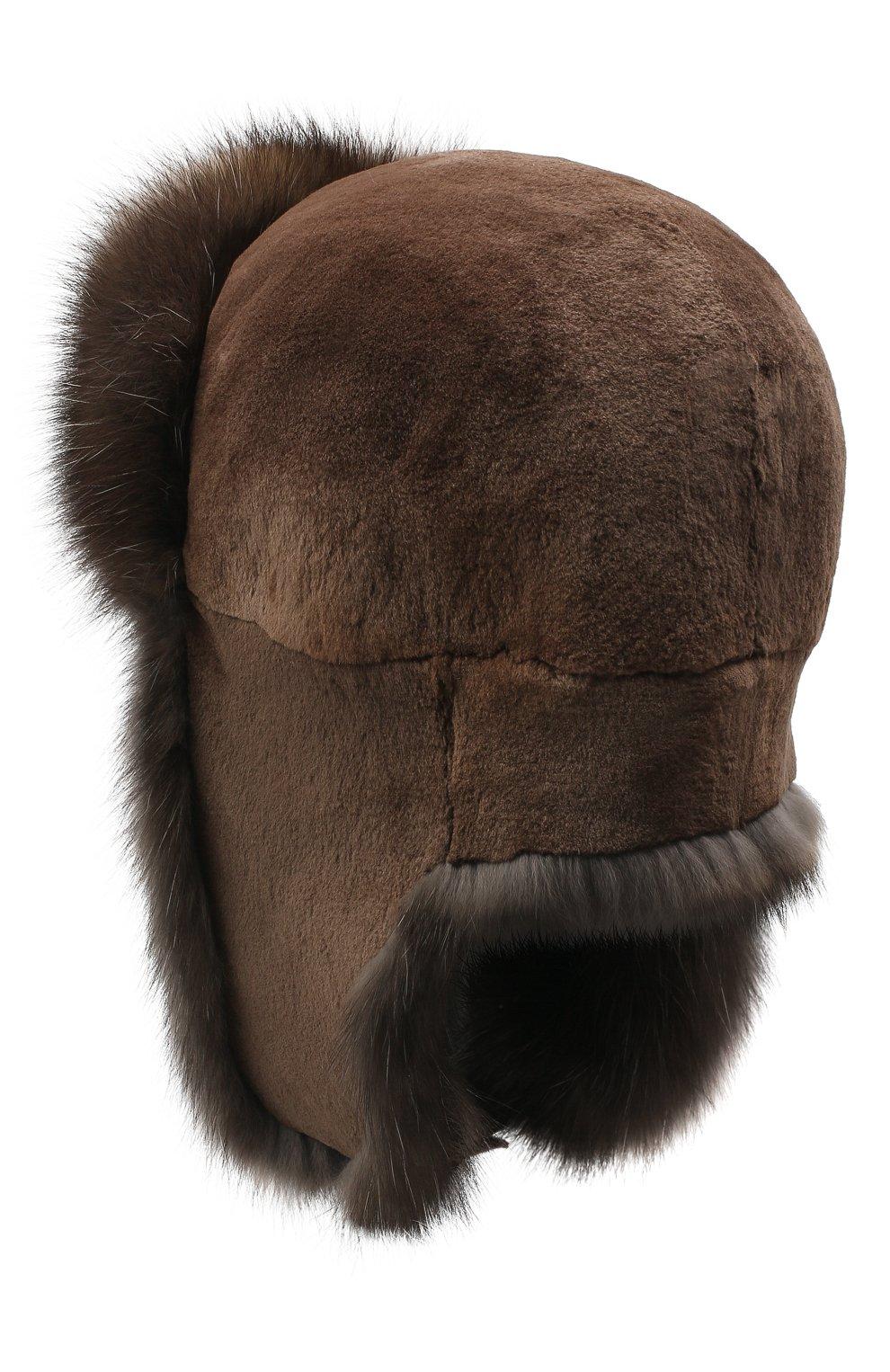 Мужская шапка-ушанка из меха норки и соболя KUSSENKOVV темно-коричневого цвета, арт. 320513504243 | Фото 2