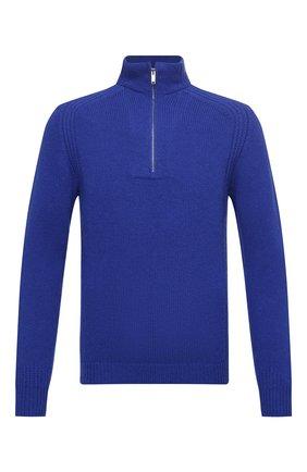 Мужской шерстяной свитер DANIELE FIESOLI синего цвета, арт. DF 5091 | Фото 1 (Материал внешний: Шерсть; Длина (для топов): Стандартные; Рукава: Длинные; Принт: Без принта; Стили: Кэжуэл)